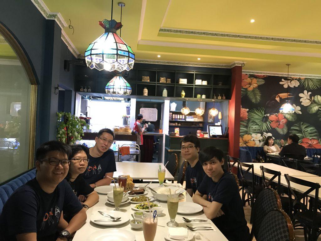 Bandung team at dinner table