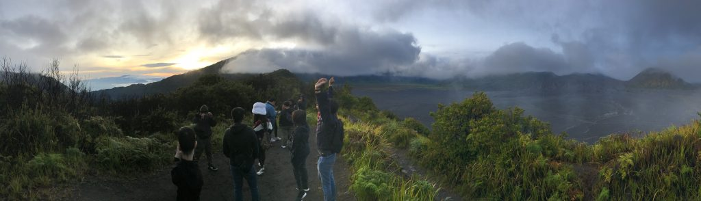 Panoramic picture of sunrise in Bromo